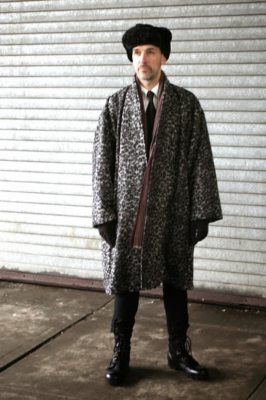 Men's big overcoat made from Mood Fabric NYC's Italian wool leopard print and vintage Vogue Issey Miyake pattern