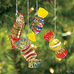 12 Glass HARD CANDY Holiday CHRISTMAS ORNAMENTS Candies Decor