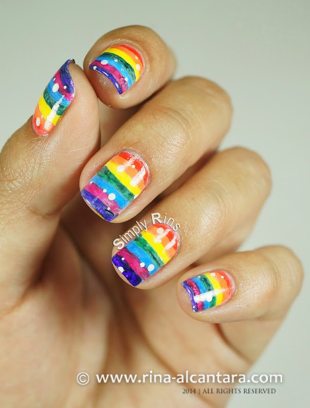 Washed Out Rainbow Nail Art