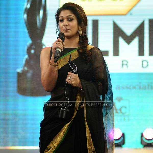 Nayanthara speaks after receiving Best Actor Award for female award in Tamil for her performance in the film 'Raja Rani' during the 61st Idea Filmfare Awards South, held at Jawaharlal Nehru Stadium in Chennai, on July 12, 2014.