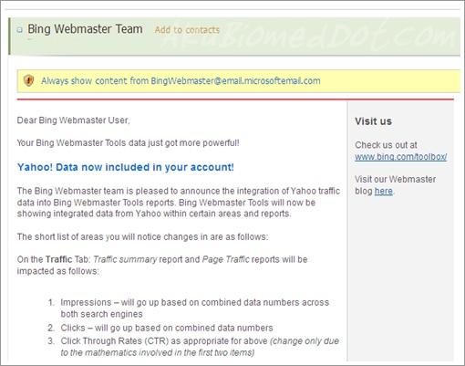 e-mail pemberitahuan migrasi data klien Yahoo! ke Bing
