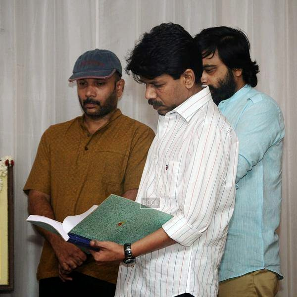 Stars during the movie pooja of Thaarai Thappattai, held in Chennai.