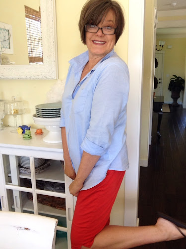 Fashion Friday, fashion for 50 somethings, knee length shorts, old navy blue shirt