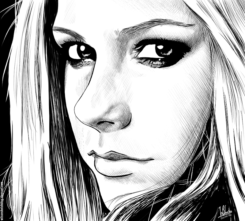 Ink drawing of Avril Lavigne, using Krita 2.4.