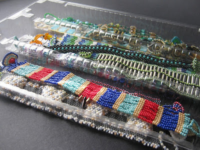 Beaded Bracelets in a Cookie Tray