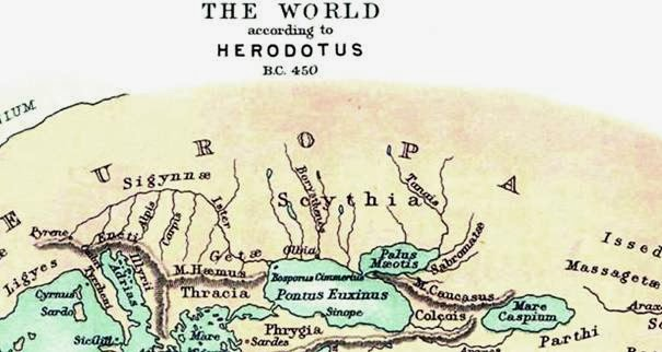 Рис. 8. Карта Геродота (фрагмент), 440 год до н.э.
