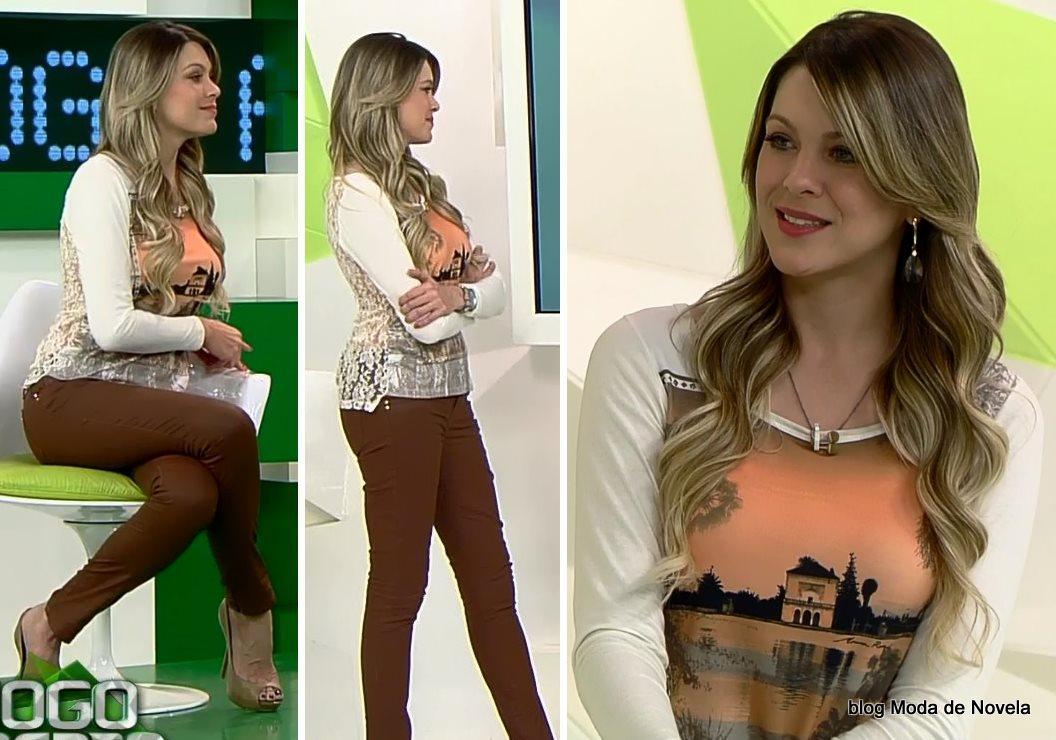 moda do programa Jogo Aberto, look da Renata Fan dia 12 de agosto