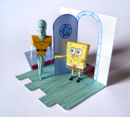 Squidward the handsome man Papercraft