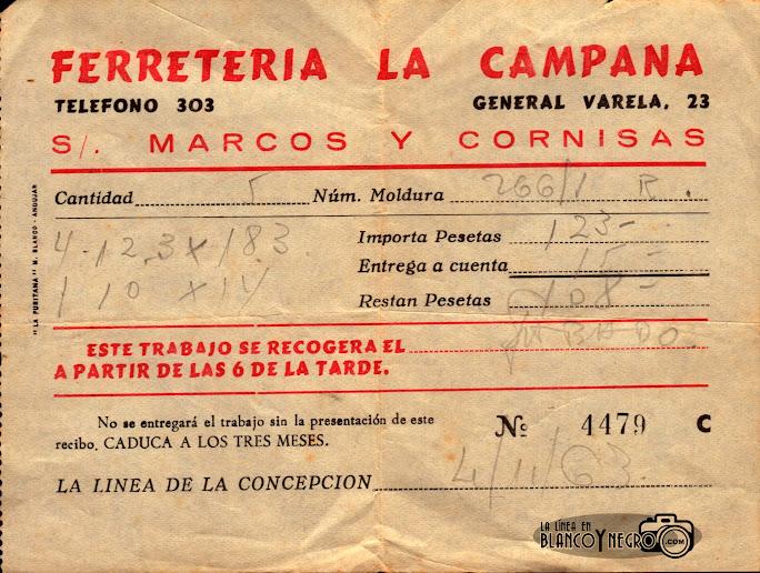 Recibo de la Ferretería La Campana 1963