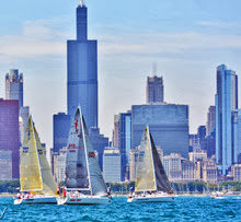 J/109 fleet starting off Chicago waterfront- Mac Race