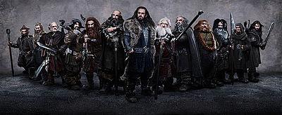 The Company of Dwarves from left to right: Nori, Fili, Dori, Bofur, Gloin, Dwalin, Thorin, Balin, Oin, Bombur, Bifur, Ori and Kili.
