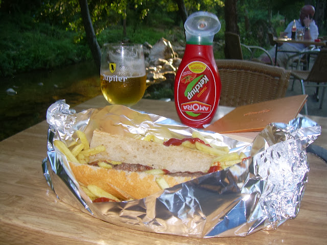 Campsite dinner and beer