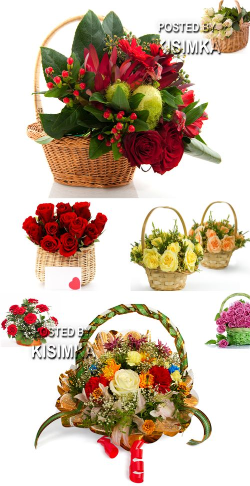 Bouquet from roses in a basket