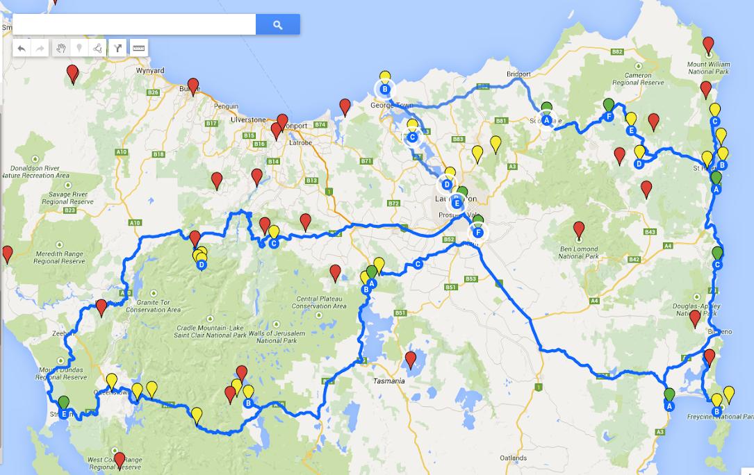 mapa výletu v Tasmánii