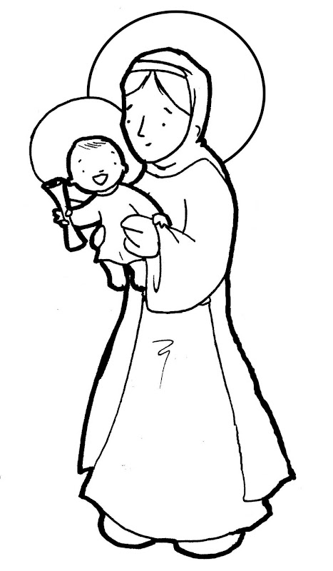 Virgin Mary Queen and mother coloring pages