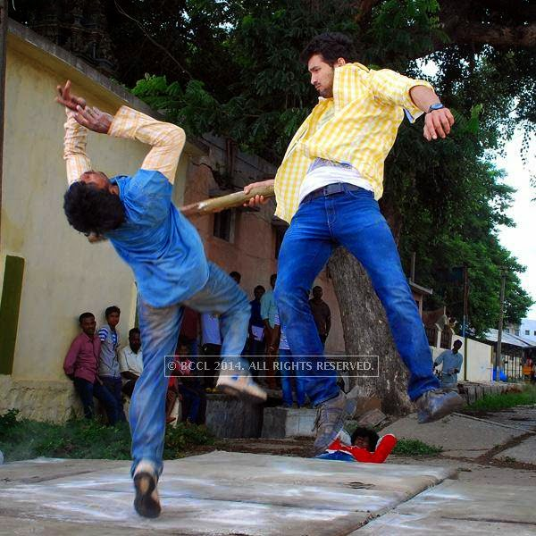 Diganth on the set of Kannada movie Sharp Shooter in Mysore.