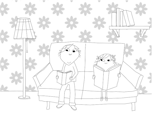 coloring pages to print charlie and lola | Charlie and Lola Reading Coloring Page