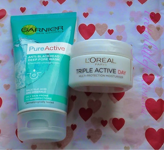 Garnier Pure Active Anti-Blackhead Deep Pore Wash and L'Oreal Triple Active Day Moisturiser