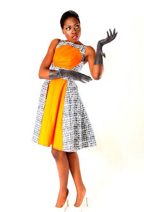 orange, black and white-ankara gown