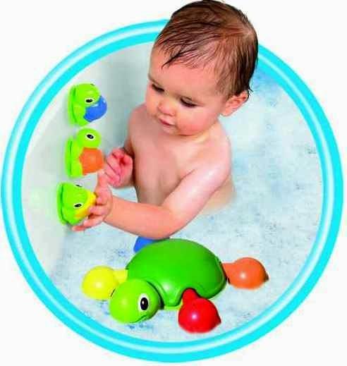 Đồ chơi khi tắm Rùa con tinh nghịch có thể bám chặt lên thành của bồn tắm hoặc tường