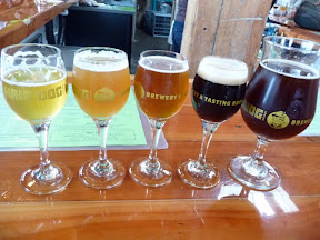 Walk the Dog sampler, plus a glass of another beer, at the Hair of the Dog tasting room