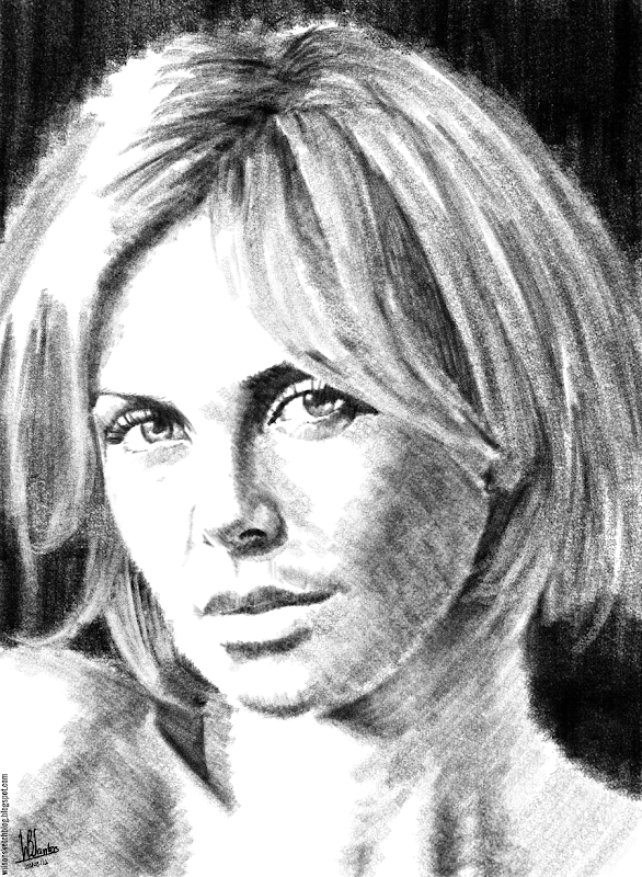 Pencil sketch of Charlize Theron, using Krita 2.5.