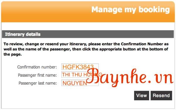 kiểm tra vé máy bay online