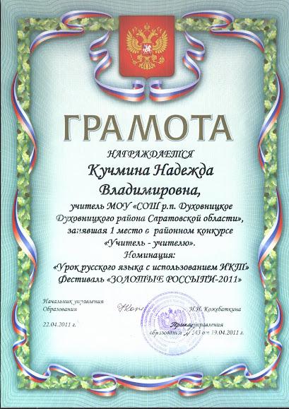 cайт учителя русского языка и литературы Мои достижения Грамота i