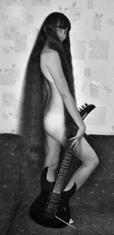 Girl long black hair down to her knees