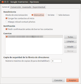 Thunderbird y Google Contacts