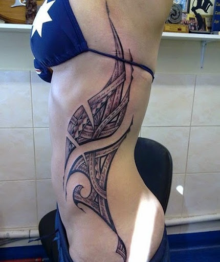 side rib tribal tattoos for women