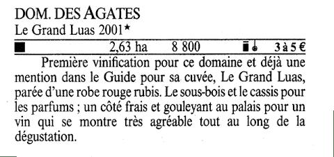 Domaine des Agates - Le Grand Luas 2001