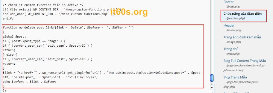 Cách tích hợp nút xóa bài viết ra ngoài home page wordpress 2