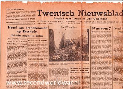Hagel van brandbommen op Enschede