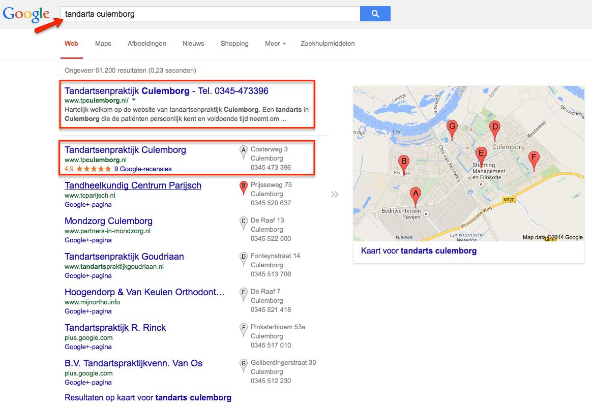 Tandarts Culemborg nummer 1 in lokale en organische zoekresultaten