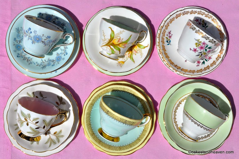 six beautiful pale blue, green and pink vintage teacup trios