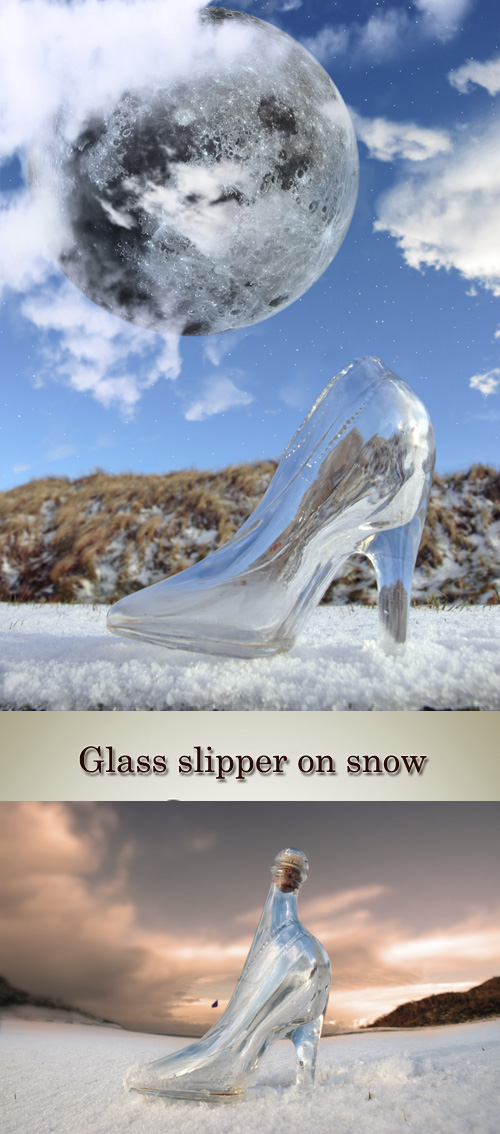 Stock Photo: Glass slipper on snow