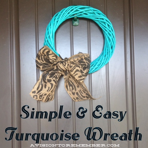 turquoise and burlap wooden wreath