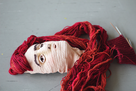 A crocheted self portrait:  My challenge was to make my own self portrait and setting up the exhibition of my work. Crochet art, fiber arts, crochet portraits