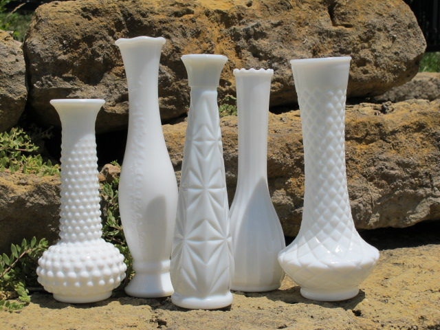 Tall Milk Glass Vases from the rental inventory of www.momentarilyyours.com