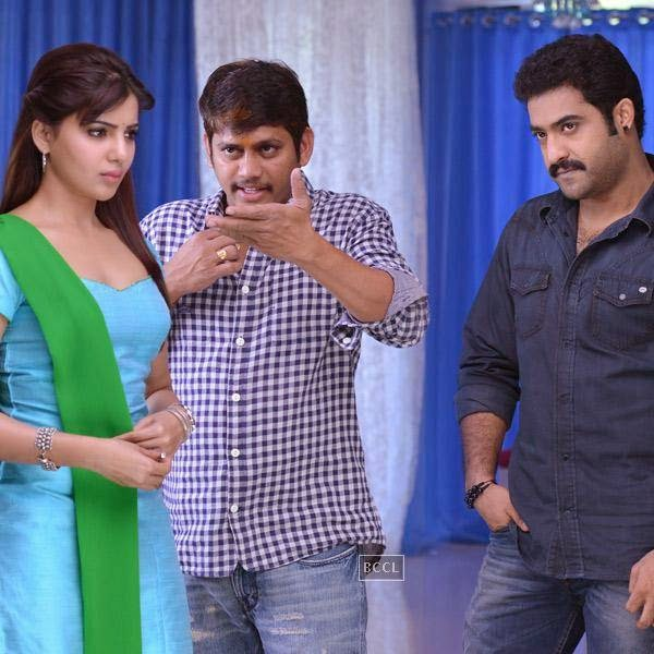 Samantha Ruth Prabhu and N. T. Rama Rao Jr. on the sets of Telugu movie Rabhasa. (Pic: Viral Bhayani)