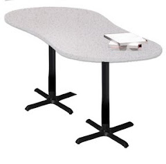 "Mayline - Bistro Dining Table 72"" Peanut - Black Iron Base - HPL"