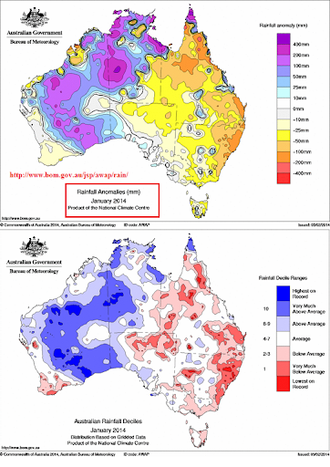 jan 2014 australina rainfall anomaly