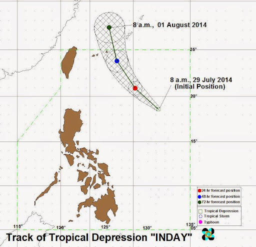 Track of Tropical Depression Inday