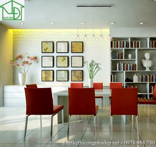 Bàn ghế phòng ăn chân inox bọc sofa, giá sách được thiết kế kết hợp với phòng ăn