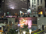 A night view of Rockefeller Center - notice the absence of a skating rink!
