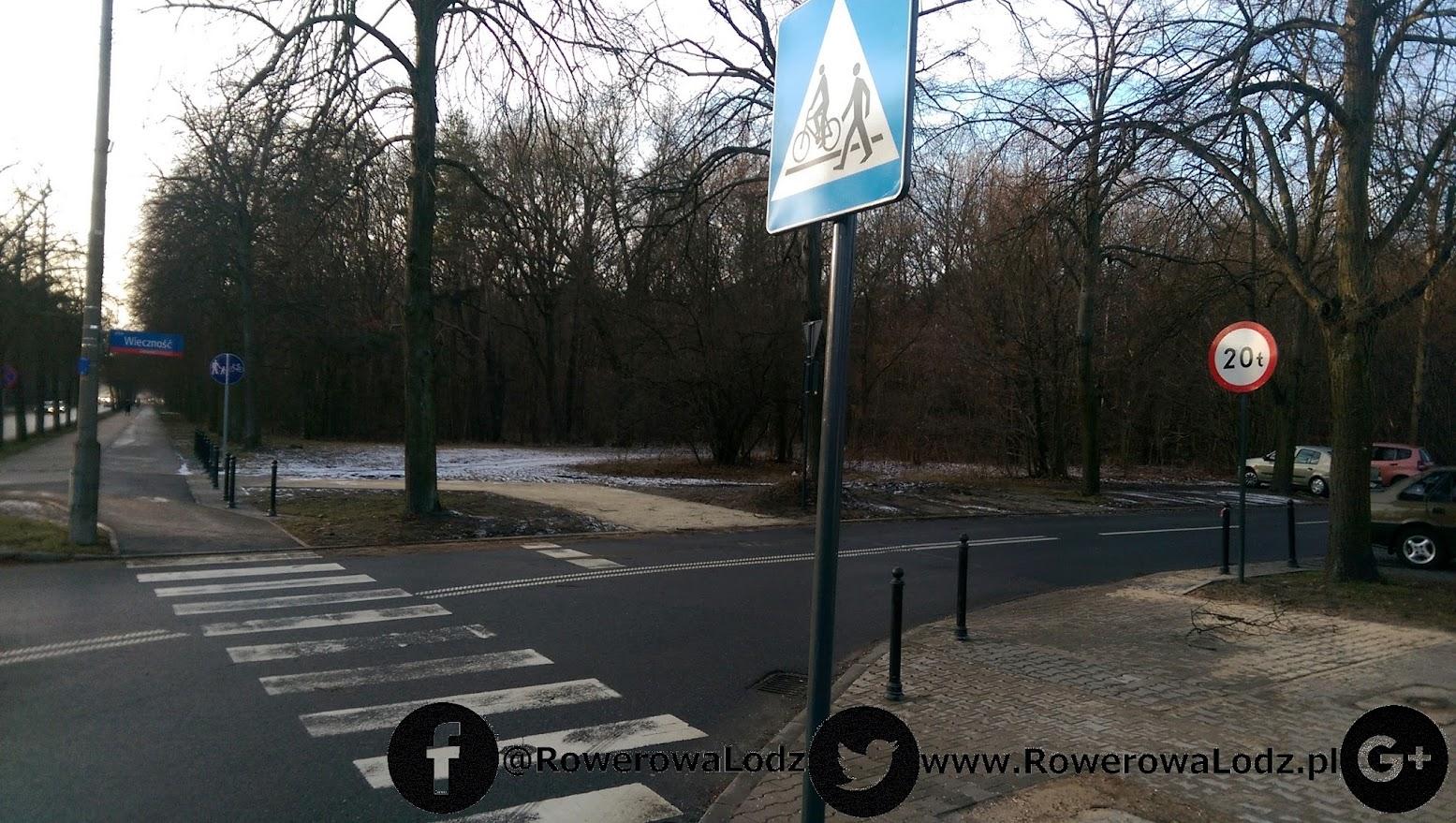 Skrzyżowanie z ul. Wieczność. Znaki pionowe sugerują coś czego znaki poziome nie potwierdzają - przejazd dla rowerów.