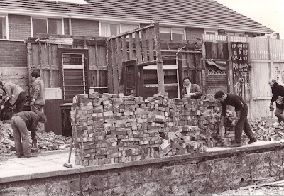 Dismantling the old Toller Station building. It's a fair bet the neighbours were pleased to see it come down.  Date ?  Photo:  ?