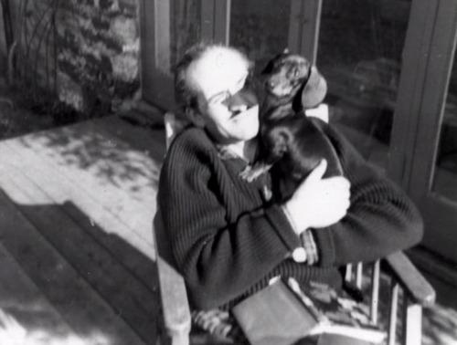 Roger Delgado and a dog