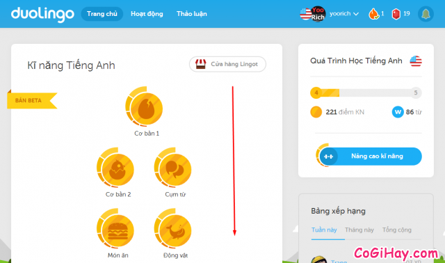 duolingo học tiếng anh trực tuyến